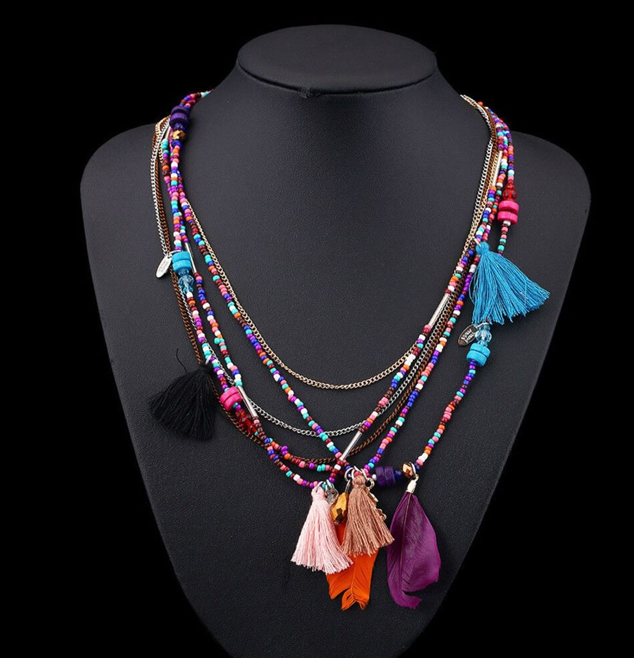 Boho Multi Color Beaded Necklaces (6 layers)