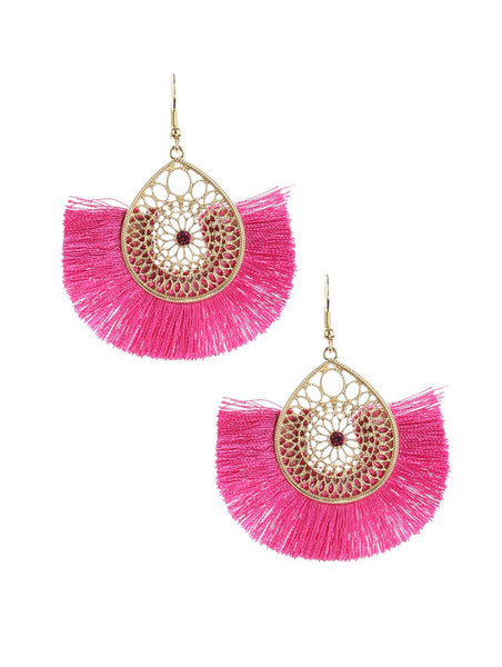 Pink Gold Babe Fringe Earrings
