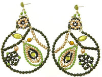 Olive Beaded Round Earrings