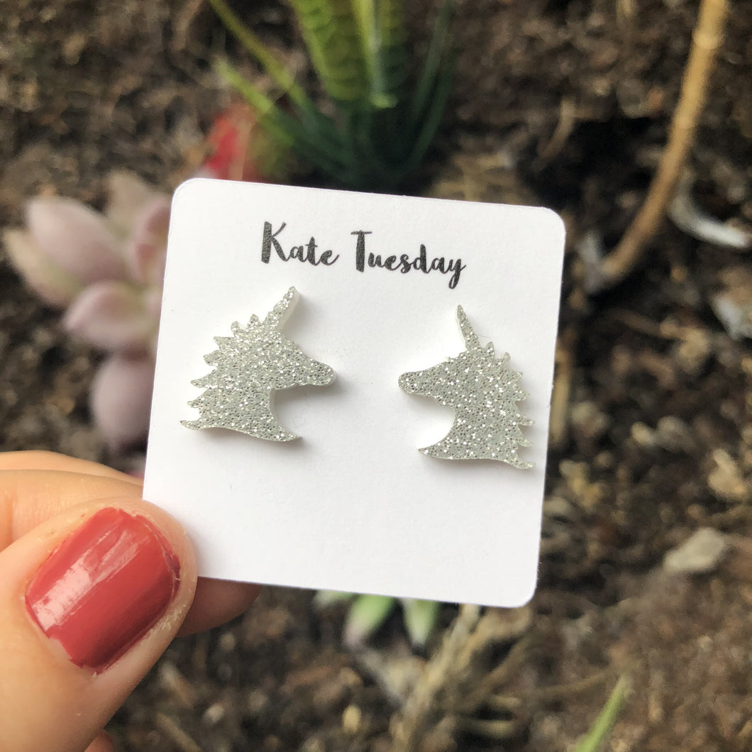 Silver Sparkly Unicorn Head Acrylic Earrings