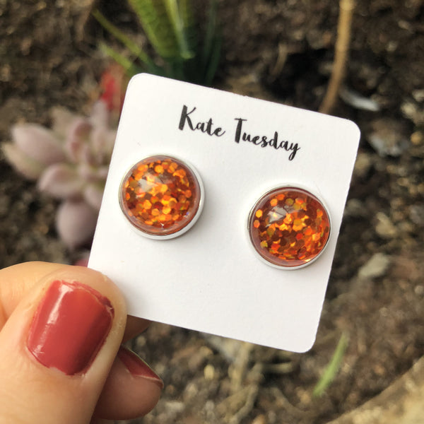 Orange Glitter Earrings