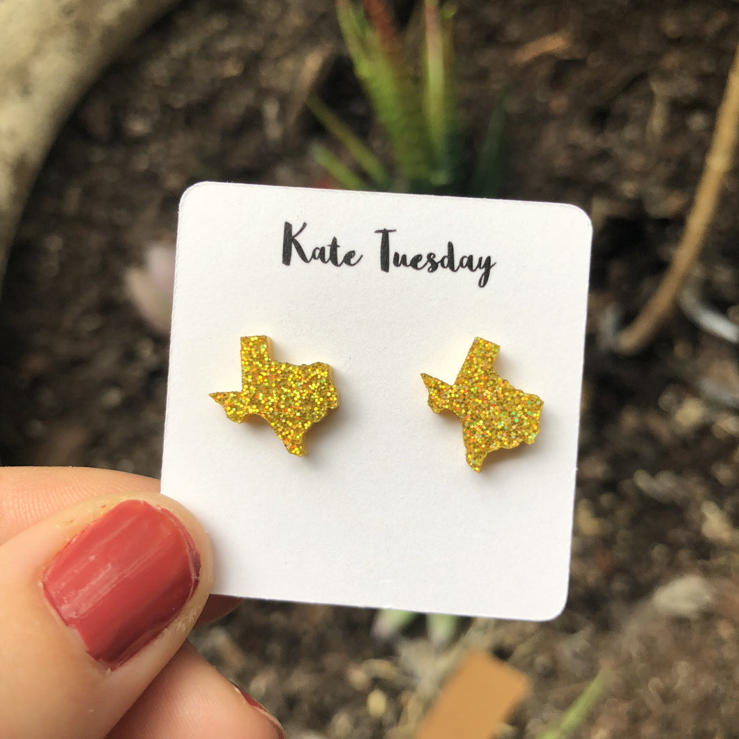 Texas Gold State Stud Earrings