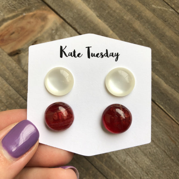 Double Raw Shiny Red and White 12mm Earrings