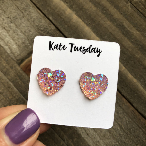 Druzy Light Pink Heart Earrings