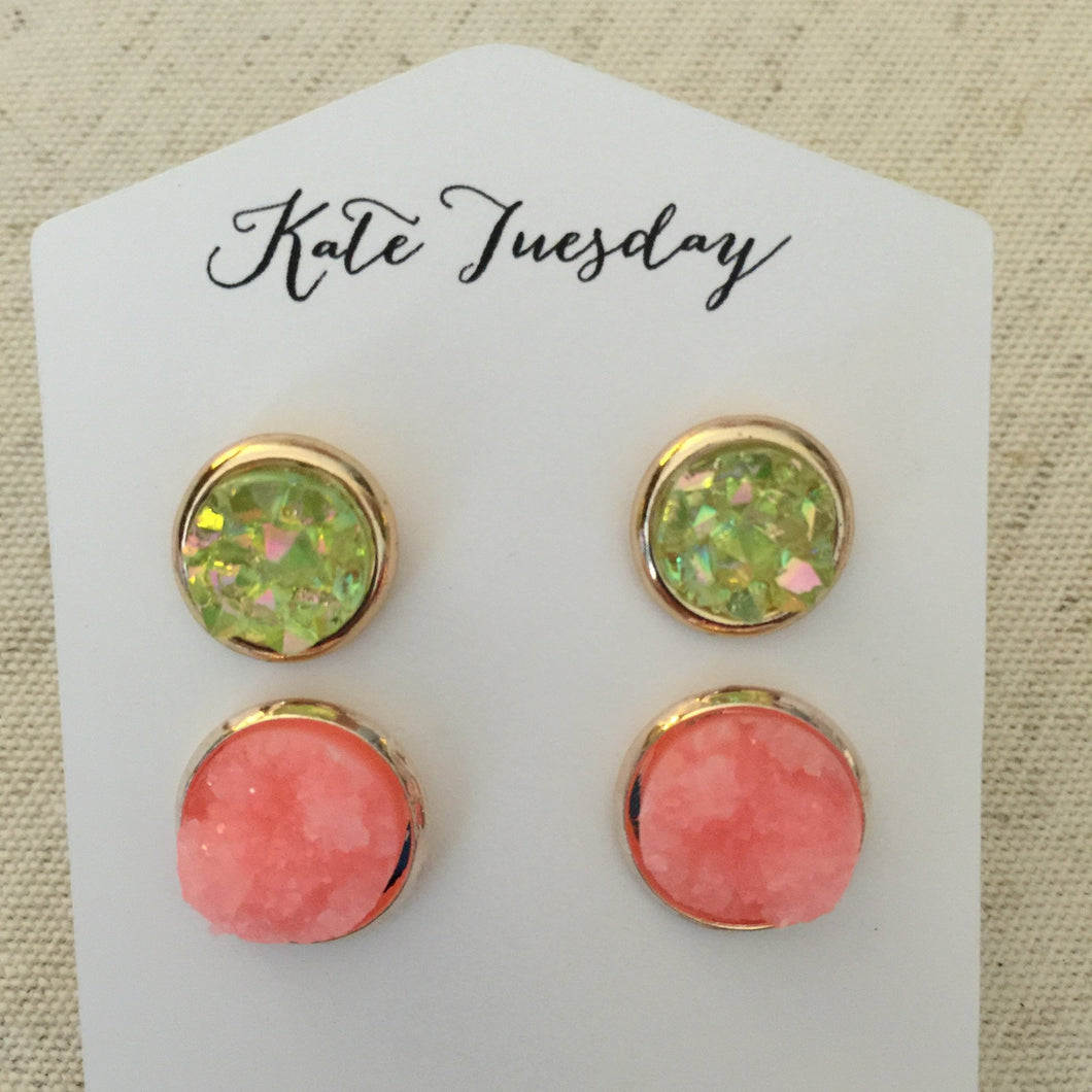 Peachy About You Druzy Earrings Set