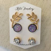 Athena Druzy Earrings Set