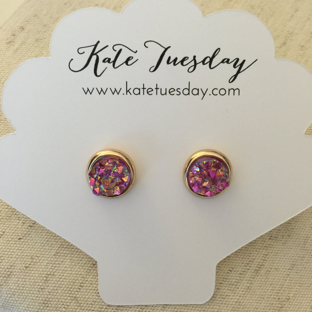 Rose Round Druzy Earrings