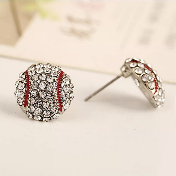 Rhinestone Baseball Stud Earrings
