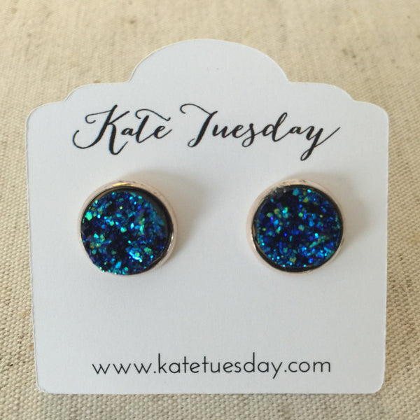 Krazed Blue Druzy Earrings