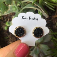 Kate Black + Gold Druzy Circular Earrings
