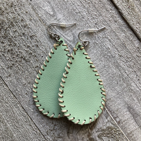 Mint Leather Stitched Earrings