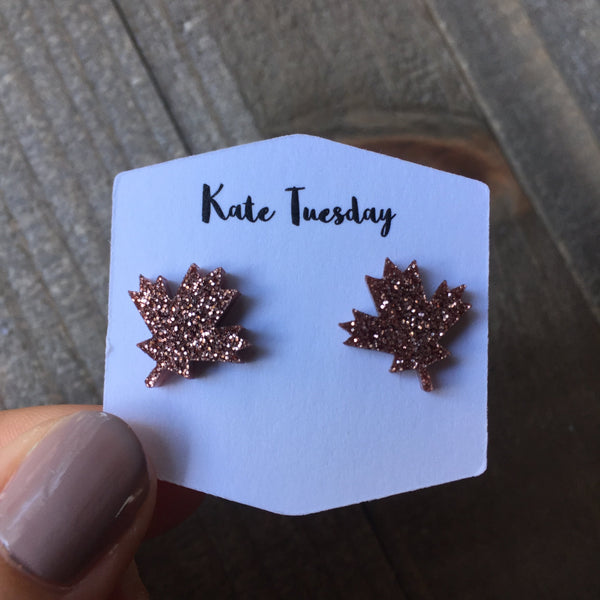 Rose Gold Sparkly Maple Leaf Stud Acrylic Earrings