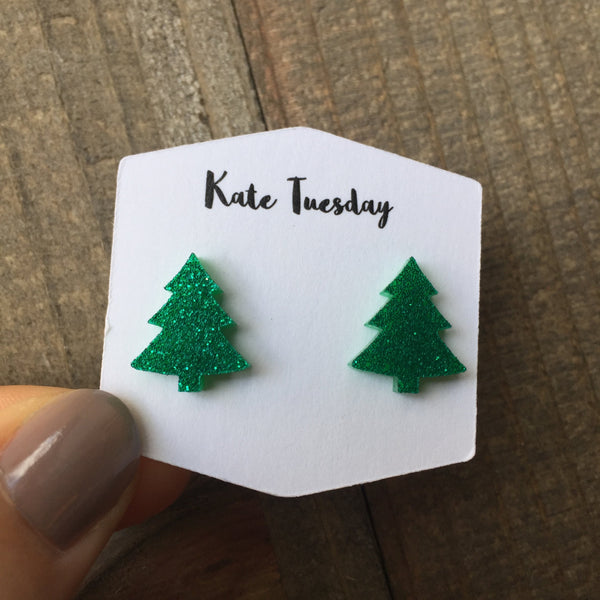 Green Sparkly Tree Stud Acrylic Earrings