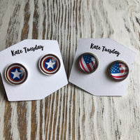 American Patriotic 12mm Stud Earrings 4th of July