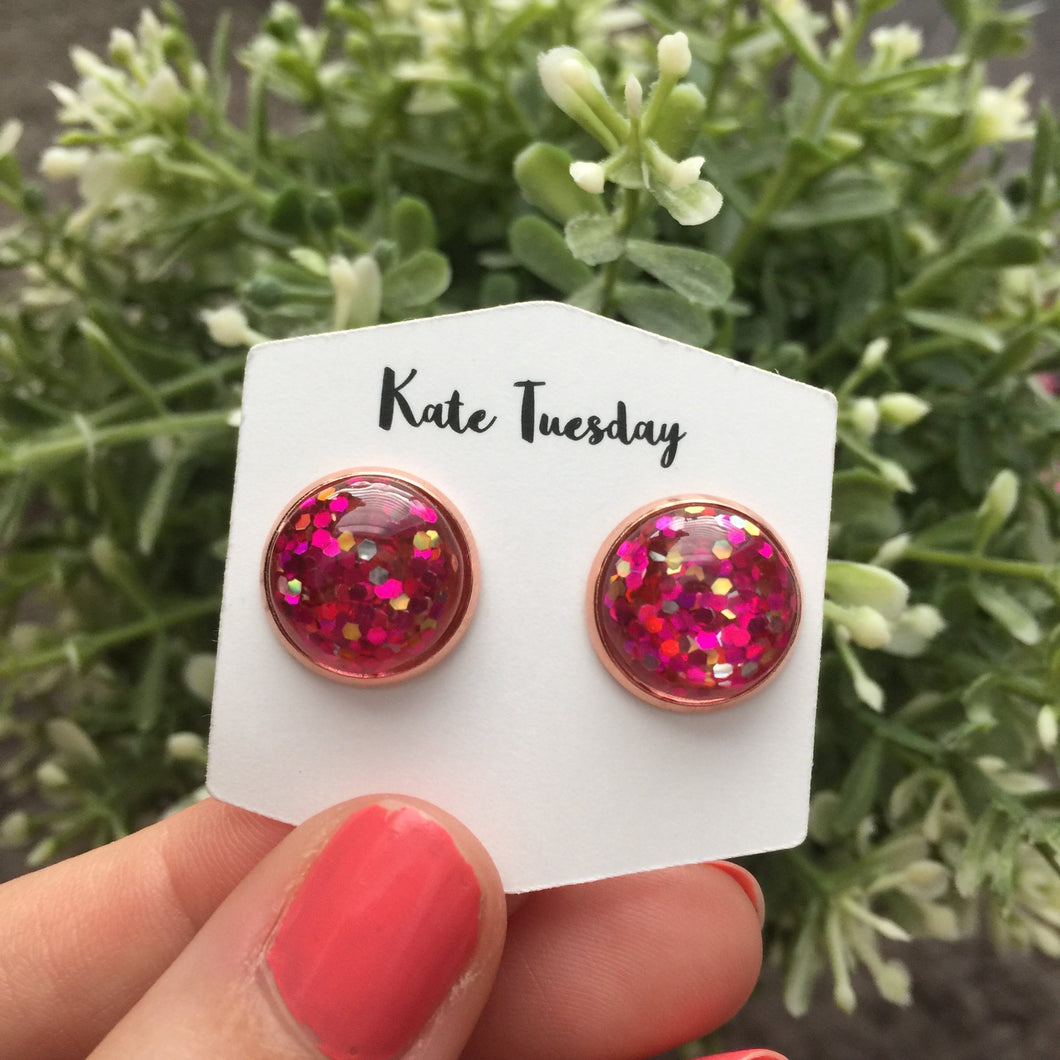 Hot Pink Glitter Earrings