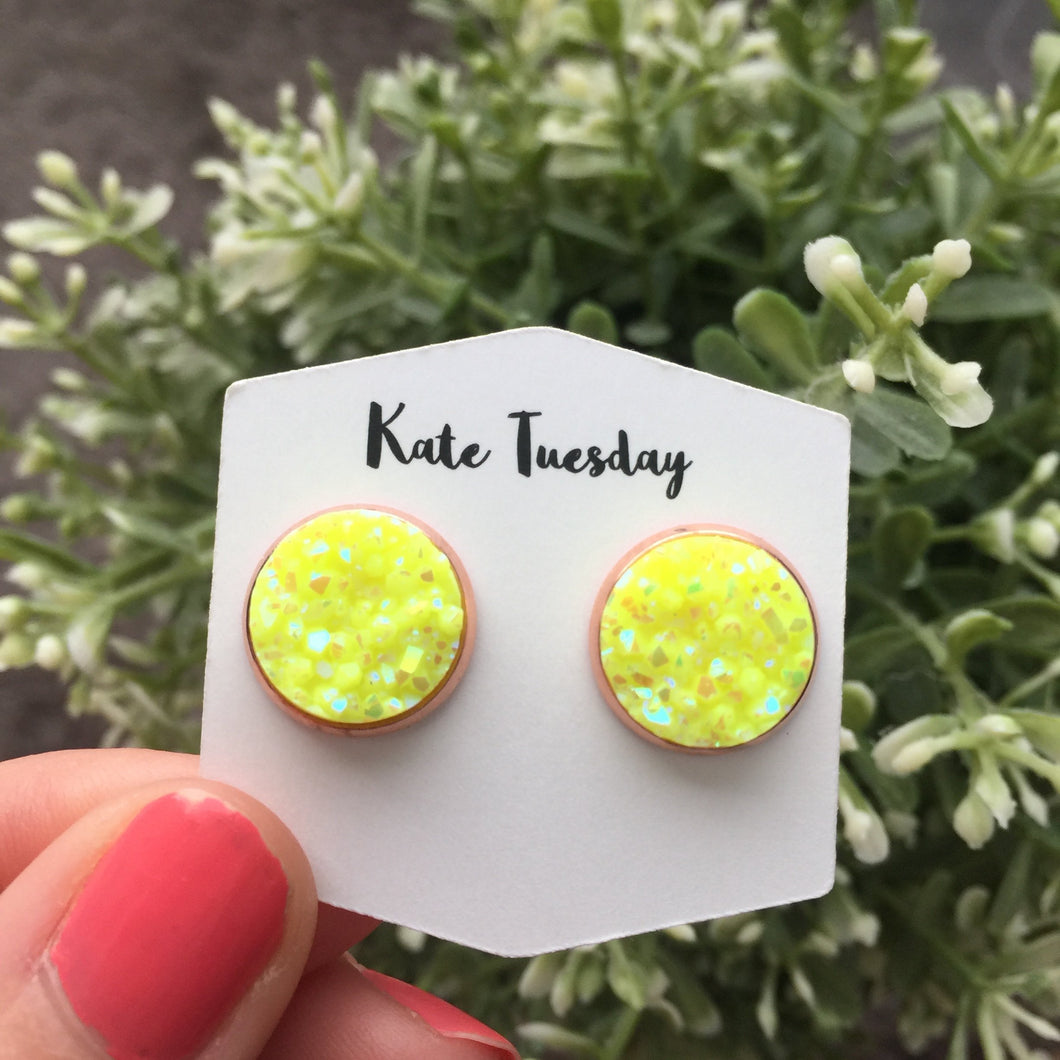 Neon Yellow Pop Druzy Earrings