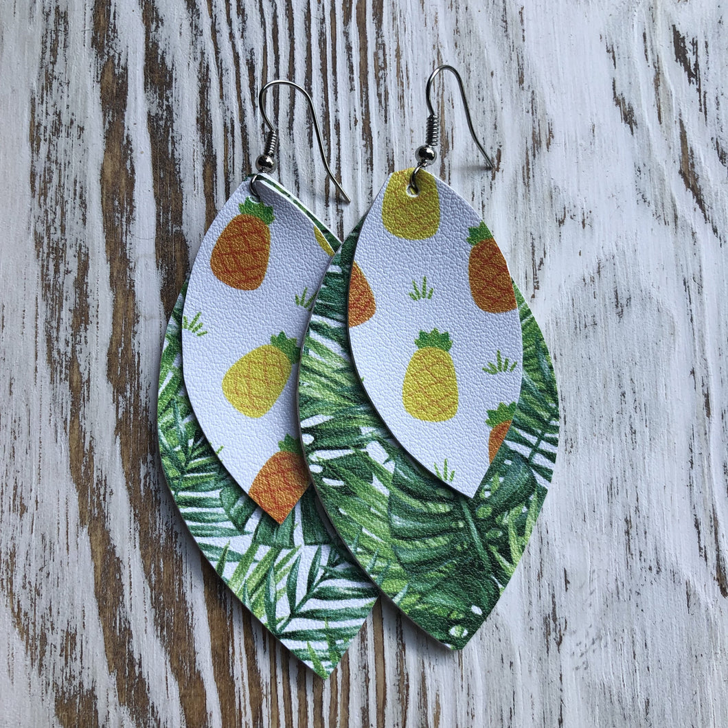 Key West Fruit Palm Leather Earrings