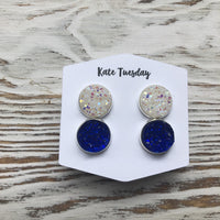 White and Blue Druzy Double Set of Earrings 4th of July