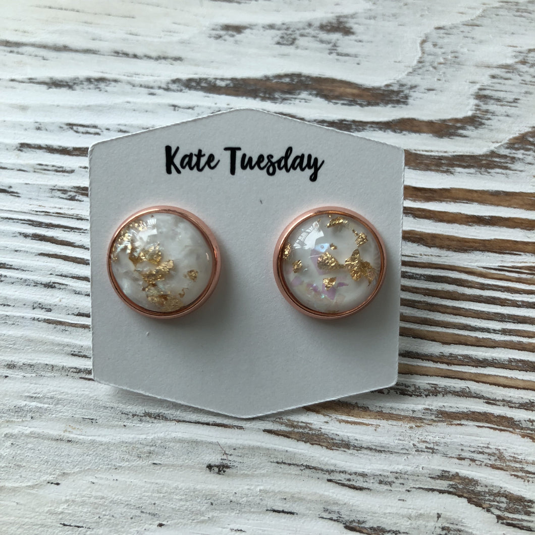 Gold Flake White Druzy Earrings