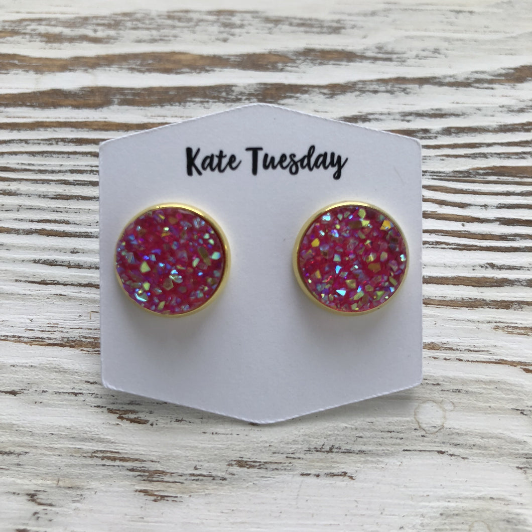 Pink Sparkle Druzy Earrings