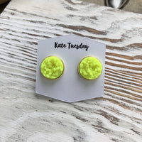 Neon Yellow Druzy Earrings