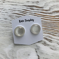 White Opaque Druzy Earrings