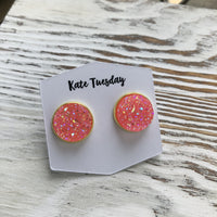 Pink Light Sparkle Druzy Earrings