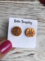 Orange Baseketball Sparkly Stud Acrylic Earrings