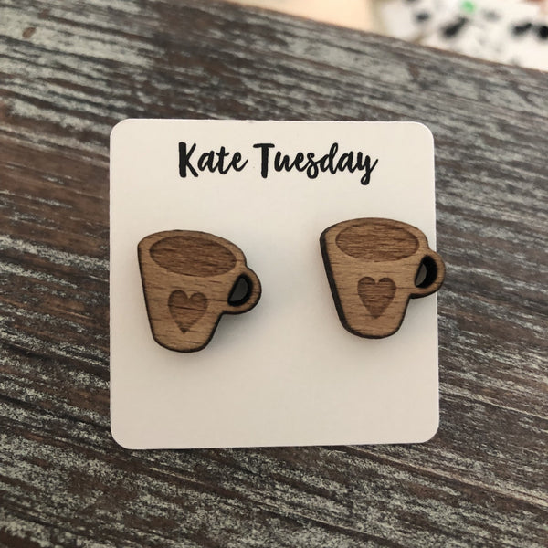 Real Wood Coffee Cup Heart Engraved Earrings