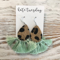 Mint Fall Cheetah Tassel Earrings