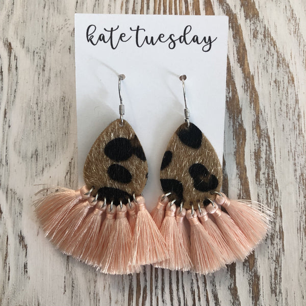 Peach Pink Fall Cheetah Tassel Earrings
