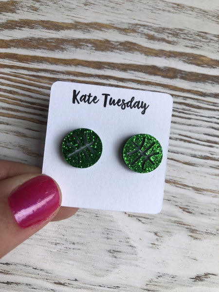 Green Baseketball Sparkly Stud Acrylic Earrings