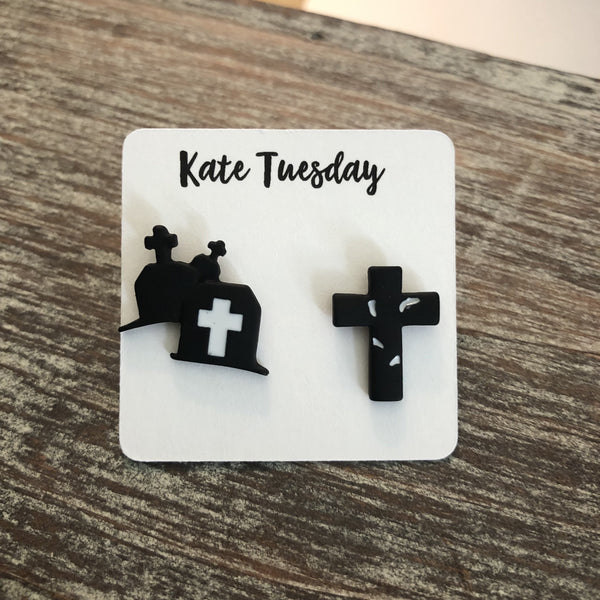 Black Gravestone and Cross Halloween Earrings
