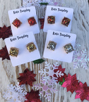 Holiday Glitter Stud Earrings