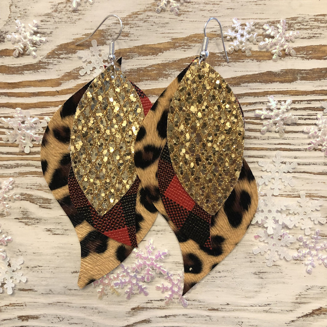 Gold Glitter Cheetah Buffalo Plaid Faux Leather Earrings 3 Layer