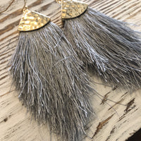 Grey Feathery Gold Hammered Earrings