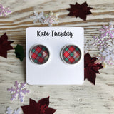 Red Green Plaid 12mm Earrings