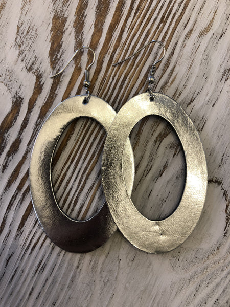 Silver Leather Hoops Hang Earrings