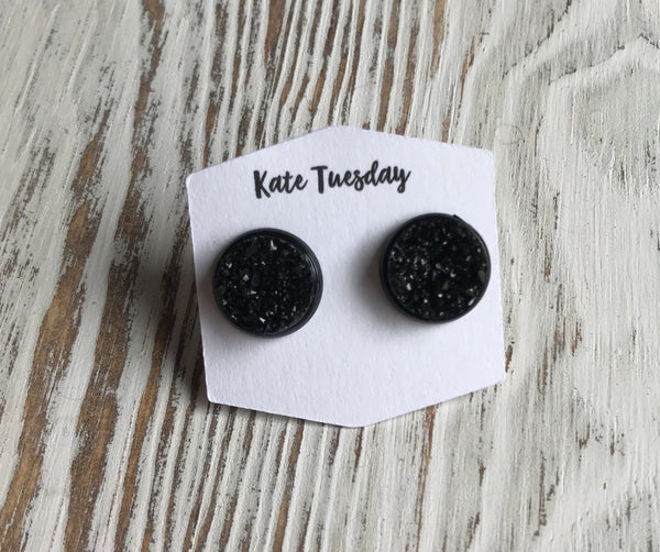 Black Halloween Druzy Earrings