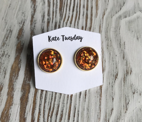 Orange Glitter Halloween Earrings