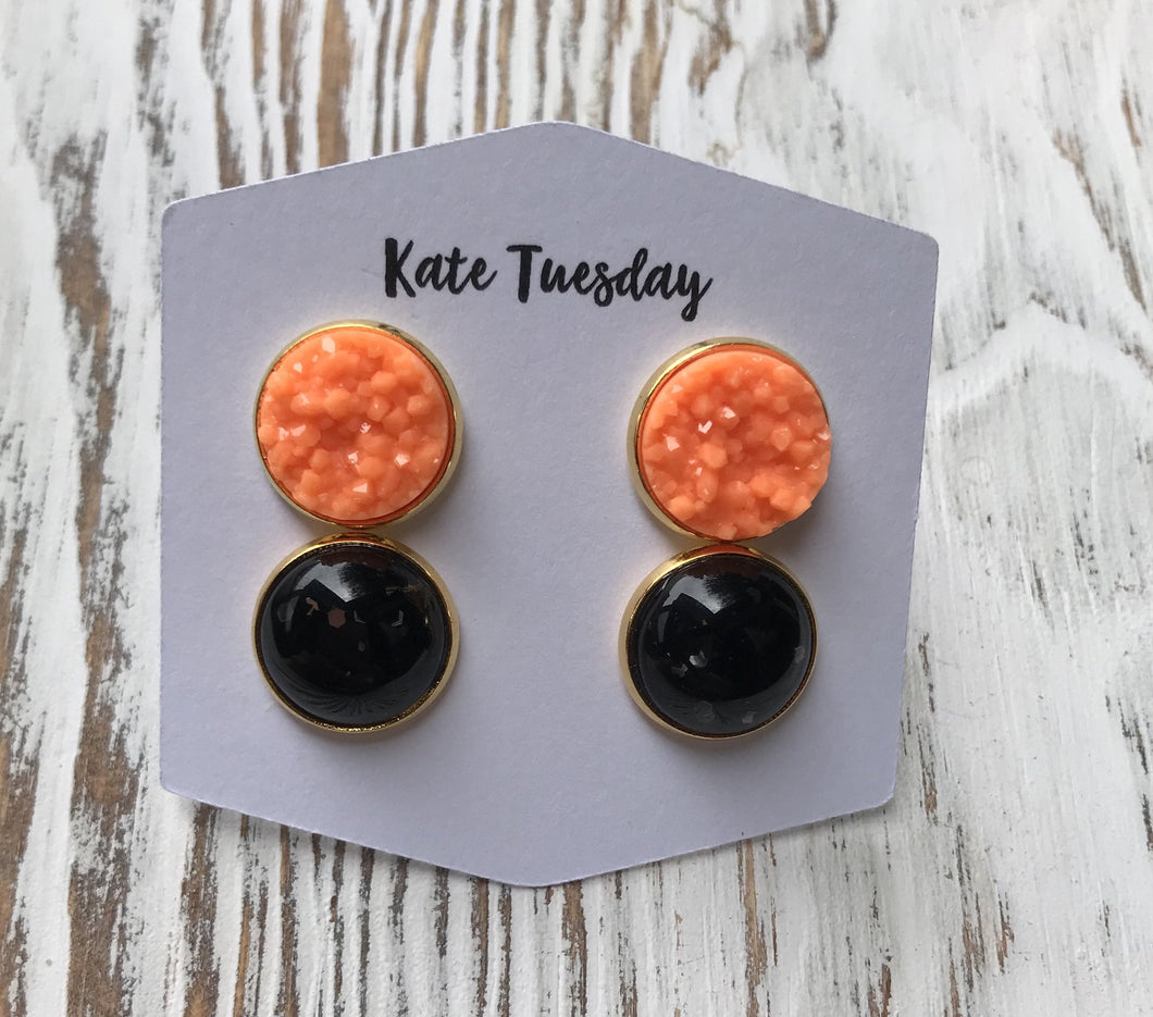 Orange Druzy Black Glitter Halloween Earrings