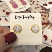 White 8mm Druzy Earrings