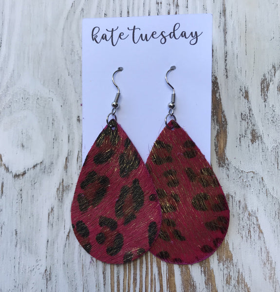 Red Cheetah Animal Print Leather Earrings