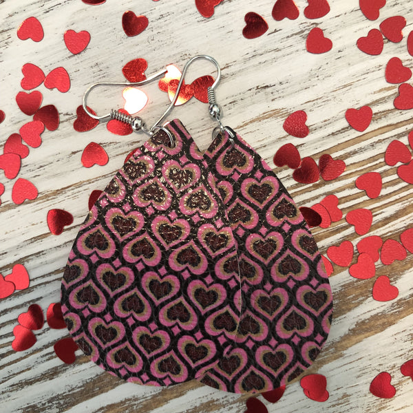 Dark Purple Pink Hearts Leather Earrings