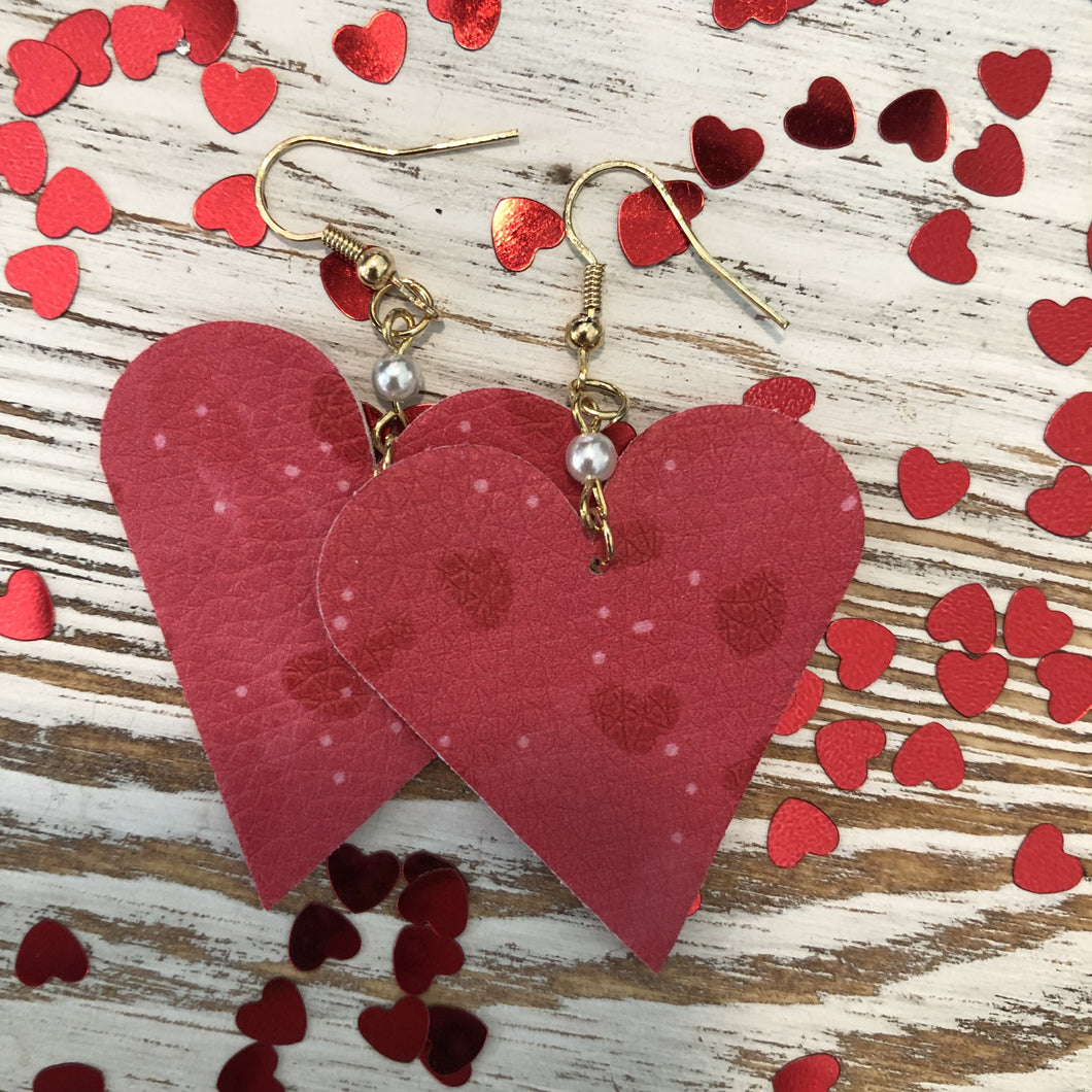 Red Mini Heart Leather Pearl Earrings