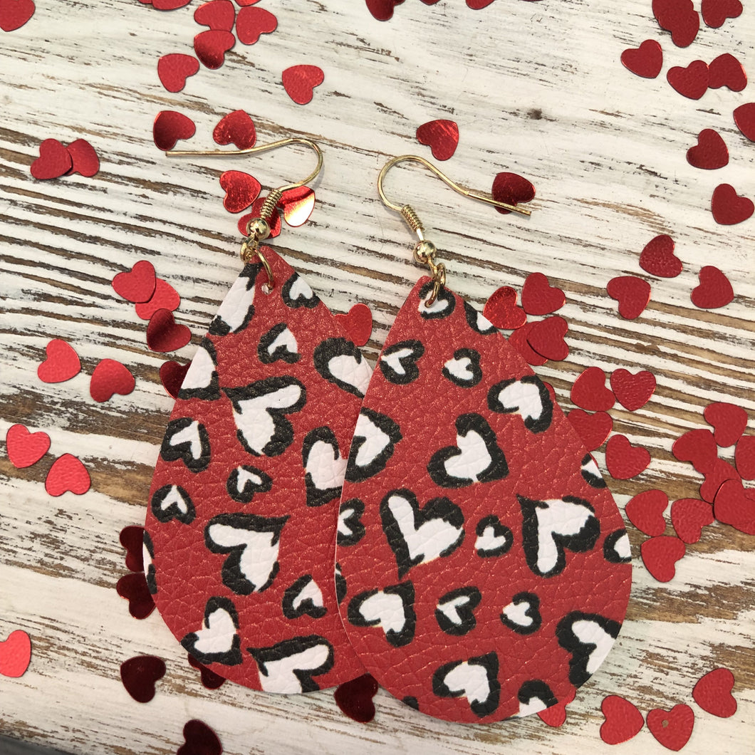 Red Black and White Hearts Leather Earrings