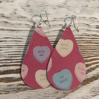 Candy Hearts Pink Faux Leather Earrings