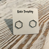 Simple Hexagon Stud Earrings