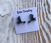 Black Sparkly Witch Broomstick Halloween Acrylic Stud Earrings