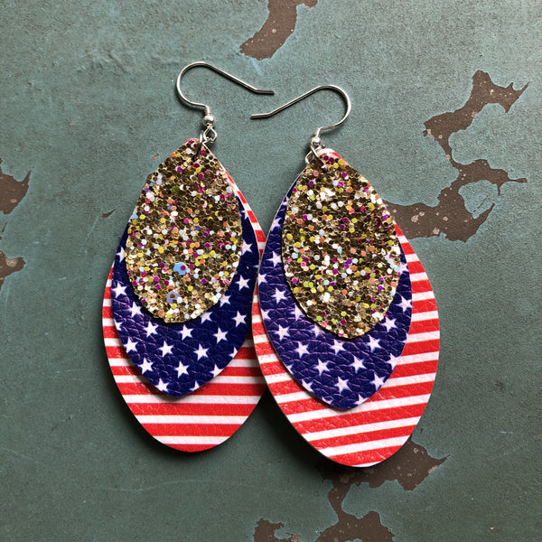 3 Layer Faux Leather Gold Glitter Red White Blue 4th of July Earrings